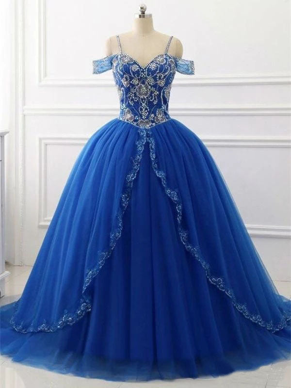 Ball Gown Off the Shoulder Royal Blue Quinceanera Dresses Beaded V Neck Prom Dresses P1092