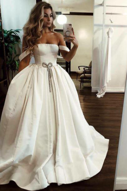 Ball Gown Off the Shoulder Satin Bateau Long Wedding Dresses with Pockets, Bridal Dress W1079