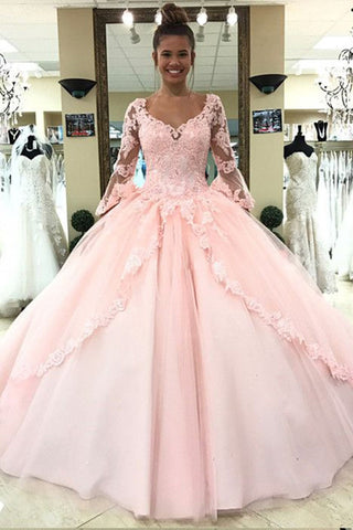 products/Ball_Gown_Pink_V_Neck_Long_Sleeve_Appliques_Prom_Dresses_with_Lace_up_Quinceanera_Dresses_H1136-1.jpg