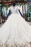 Ball Gown Round Neck Ivory Beads Open Back Wedding Dresses, Quinceanera Dresses W1053