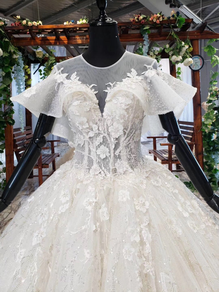 Ball Gown Round Neck Ivory Beads Open Back Wedding Dresses, Quinceanera Dresses W1056