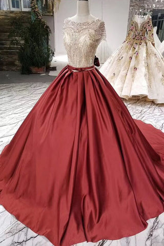 Ball Gown Scoop Burgundy Prom Dresses Short Sleeves Beads Lace up Quinceanera Dresses P1062