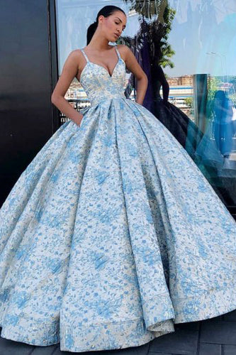 Ball Gown V Neck Spaghetti Straps Prom Dresses with Pockets, Quinceanera Dresses PW456