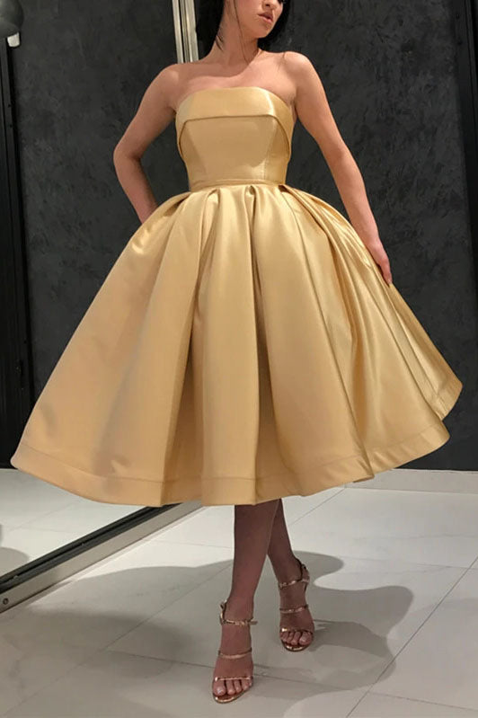 Ball Gown Yellow Strapless Homecoming Dresses with Pockets Short Prom Dresses H1225
