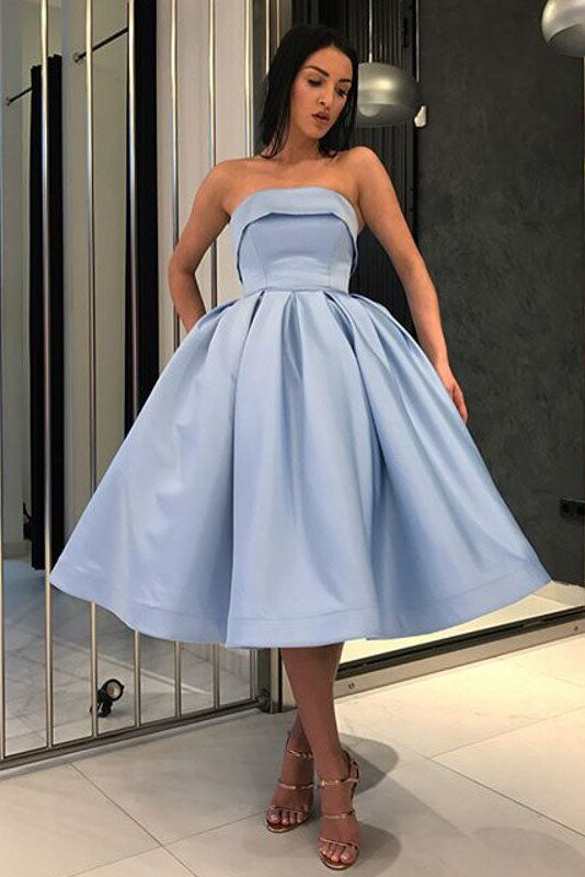 Blue Ball Gown Strapless Satin Short Cocktail Dresses, Homecoming Dress with Pockets H1227