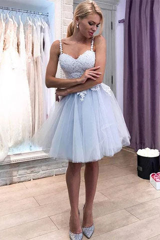 Blue Tulle Lace Sweetheart Short Prom Dress, Above Knee Spaghetti Straps Homecoming Dress P1077