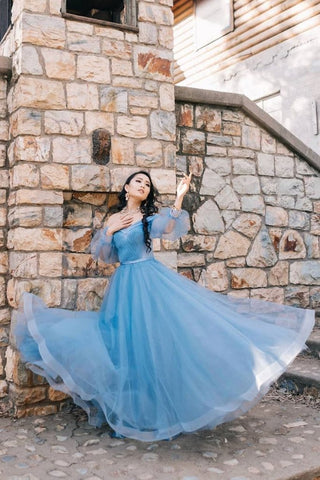 Blue Tulle Long Sleeve Sweetheart Prom Dresses Off the Shoulder Party Dresses uk PW470