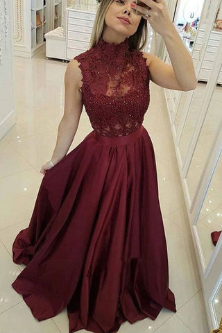 Burgundy High Neck Lace Prom Dresses Beads Satin Long Cheap Party Dresses PW573