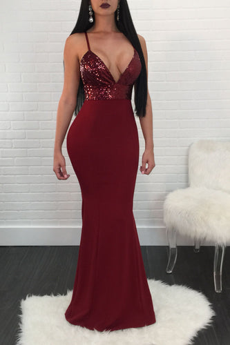 Burgundy Mermaid V Neck Satin Prom Dresses, Sequin Spaghetti Straps Formal Dress PW356
