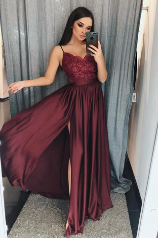 Burgundy Spaghetti Straps Sweetheart Satin Prom Dresses with Slit Beads PW591
