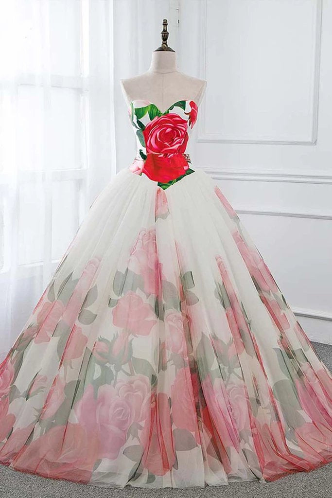 Ball Gown Floral Satin Long Tulle Evening Dresses with Lace up, Sweetheart Red Prom Dresses P1240