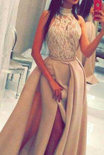 A line Lace Slit High Neck Sleeveless Floor-Length Long Prom Dresses uk PM811