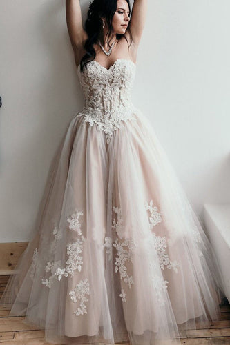 A Line Sweetheart Lace Appliques Strapless Long Prom Dresses Sexy Evening Dresses uk PW292