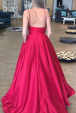 Simple A Line Spaghetti Straps V Neck Prom Dresses with Pockets, Backless Long Dance Dress P1380