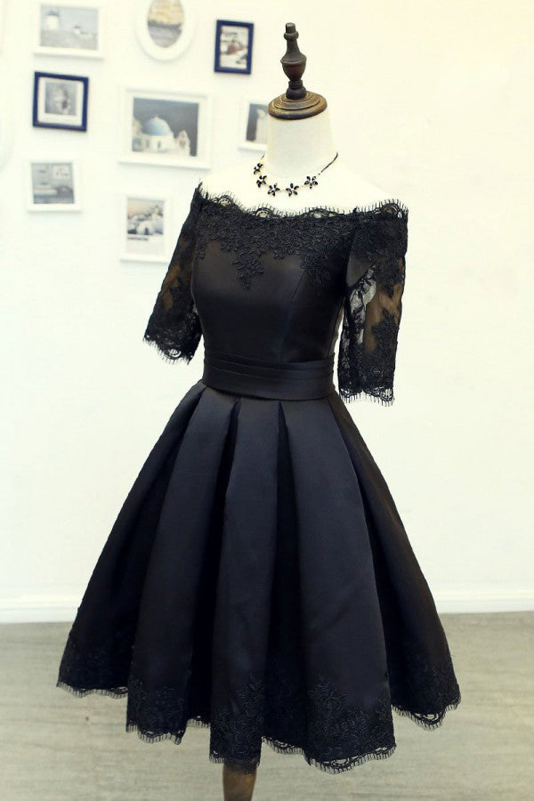 A Line Black Short Sleeves Off the Shoulder Lace Appliques Satin Homecoming Dresses uk PH885