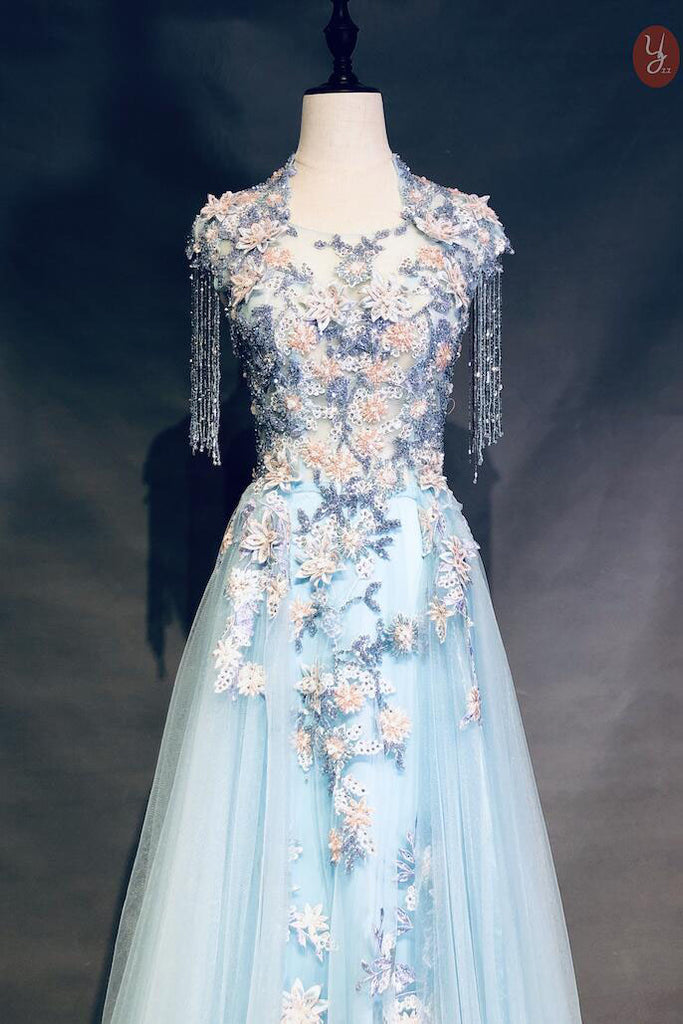Cap Sleeve Blue Long Tulle Prom Dresses with Flowers Beads Zipper Evening Dresses P1079