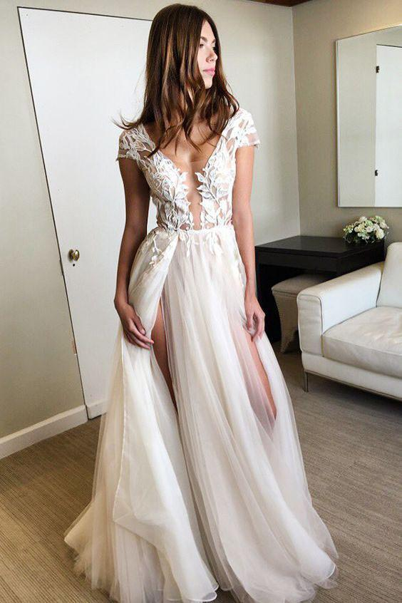 Cap Sleeve Deep V Neck Prom Dress with Appliques Backless Split Wedding Dresses PW634