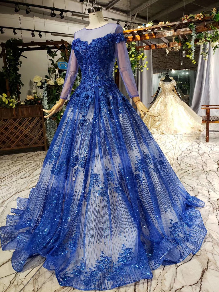 Charming Long Sleeve Round Neck Tulle Blue Beads Ball Gown Prom Dresses with Lace up P1089