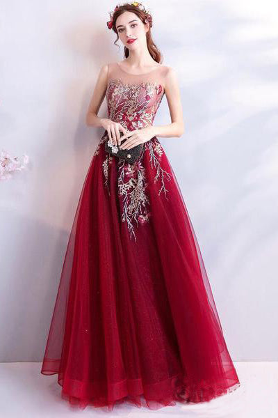 Cheap Burgundy Long Prom Dresses Lace Applique Military Ball Gown