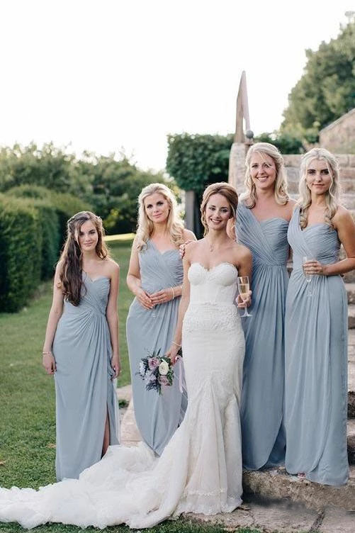 Cheap One Shoulder Sweetheart Chiffon Blue Bridesmaid Dresses, Long Slit Prom Dresses BD1007