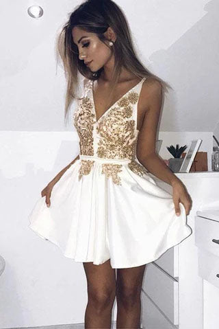 Cheap V Neck Short Prom Dress, Ivory Satin Homecoming Dress with Gold Appliques H1240