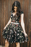Chic Black Lace Flowers Cap Sleeves Homecoming Dress, Unique Graduation Dress H1308