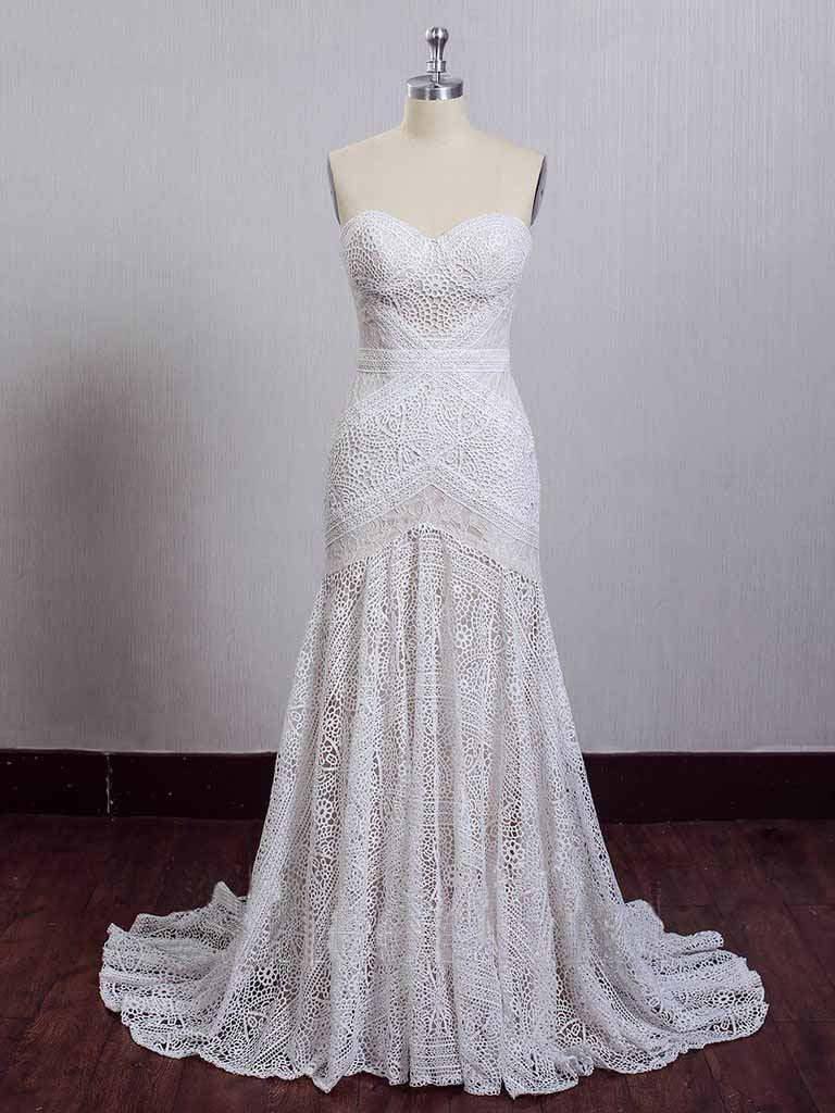 Chic Ivory Lace Mermaid Beach Wedding Dresses Sweetheart Rustic Boho Wedding Dresses W1054
