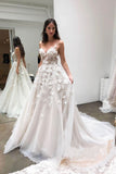 Chic Spaghetti Strap Sweetheart Tulle Beach Wedding Dresses 3D Appliqued Bridal Dresses W1095