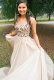 Chic Spaghetti Straps Low Back V Neck Prom Dress A Line Long Evening Dresses with Flowers P1141