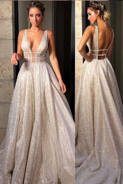 Chic Sparkly Deep V Neck Straps Wedding Dress,Sequin Long Prom Dresses PW781