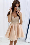 CuteLace Chiffon V Neck Spaghetti Straps Homecoming Dresses Above Knee Prom Dress H1177