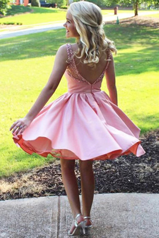 Cute A Line Satin Scoop Pink Beads Straps Short Prom Dresses Homecoming Dresses H1281