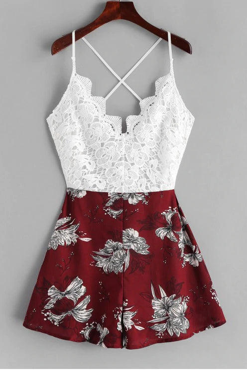 Cute A Line Spaghetti Straps V Neck White Lace Homecoming Dress, Floral Print Cocktail Dress H1077
