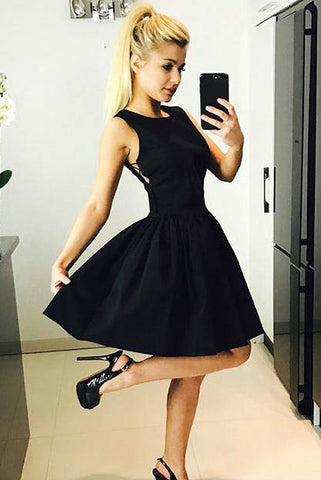 Cute Black Criss Cross Short Prom Dress Satin Above Knee Scoop Homecoming Dresses PW942