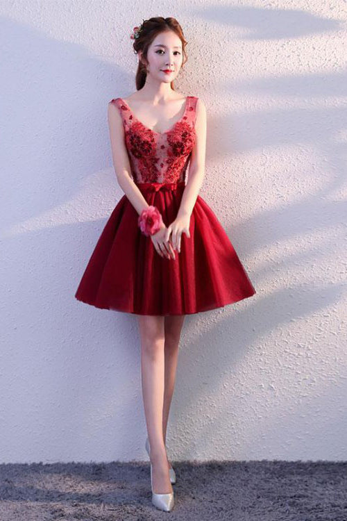 Cute Burgundy Tulle Above Knee Tulle Homecoming Dresses, Lace up Belt Graduation Dress PW820