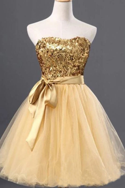Cute Golden Strapless Mini Homecoming Dresses Tulle Sequin Sweet 16 Dress With Belt H1249