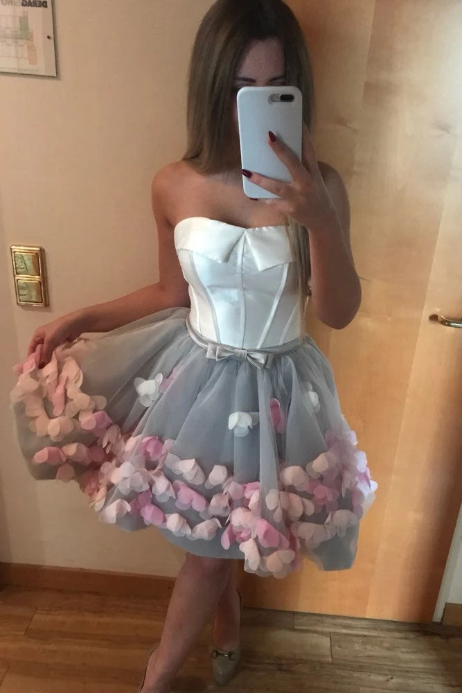 Cute Gray Strapless Tulle Homecoming Dresses with Flowers Short Sweet 16 Dresses H1334