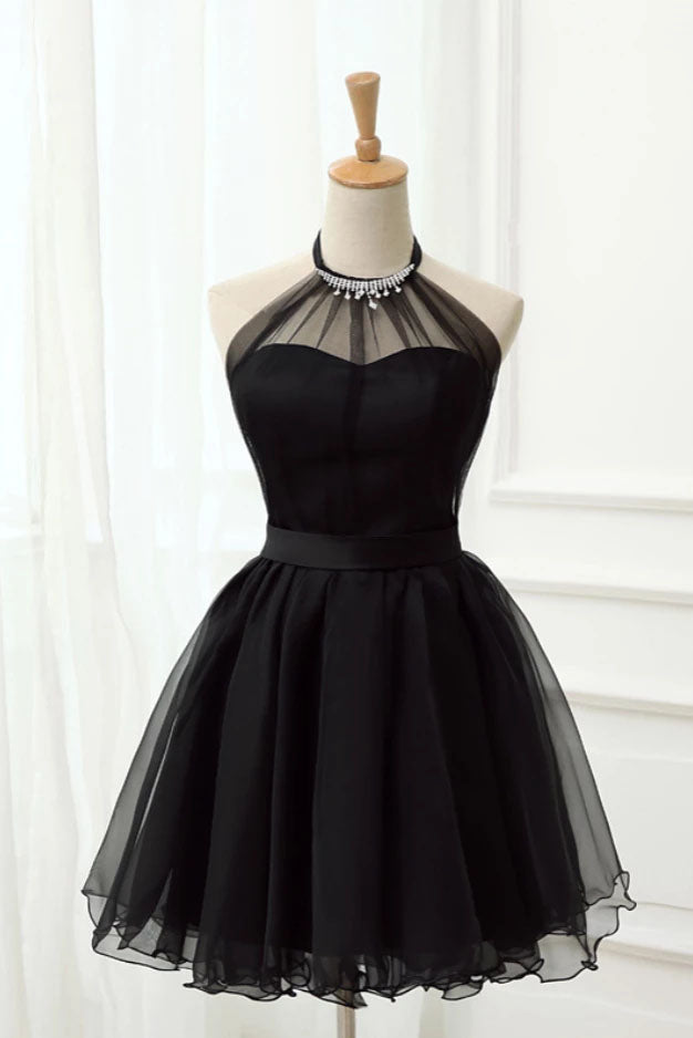 Cute Halter Black Tulle Sleeveless Beads Short Prom Dresses, Homecoming Dresses P1078