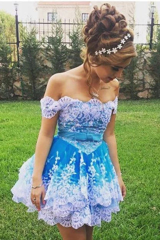 Cute Off the Shoulder Blue Lace Appliques Short Prom Gowns, Cute Homecoming Dresses H1347