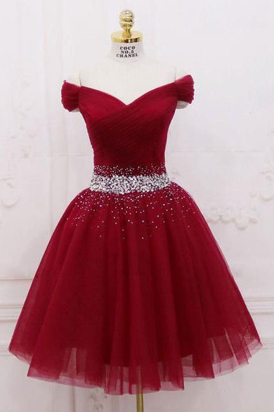 Cute Off the Shoulder Burgundy Homecoming Dresses with Tulle, Short Cocktail Dresses H1088