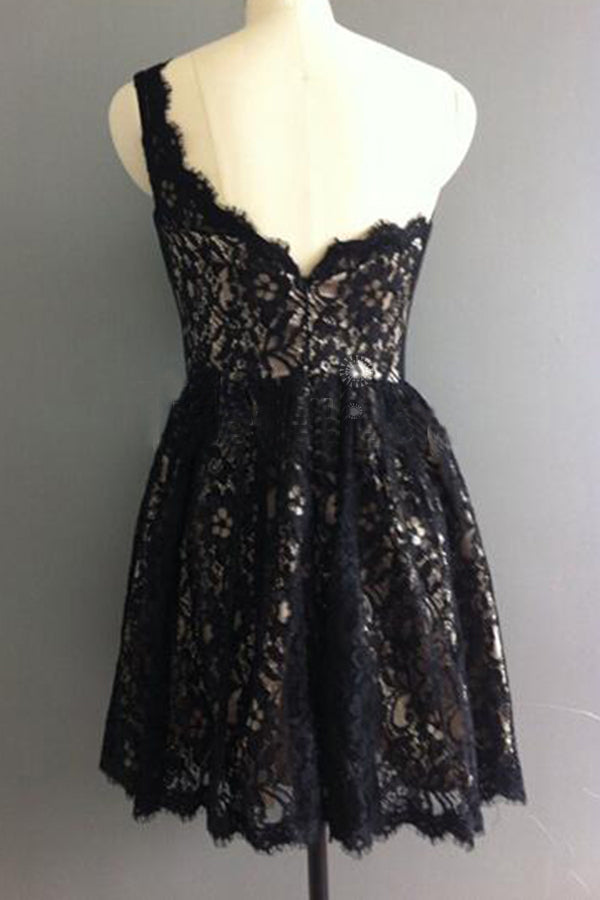 Cute One Shoulder Lace Appliques Black Short Prom Dresses Homecoming Dresses H1292