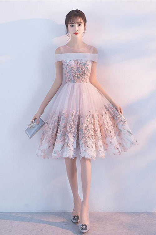 Cute Princess Pink Lace Flowers Knee Length Homecoming Dresses, Short Prom Dresses H1003