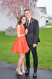 Cute Red A Line Satin V Neck Straps Short Prom Dresses Hoco Dresses H1221