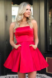 Cute Red Short Prom Dresses with Pockets, Strapless Above Knee Satin Homecoming Dresses H1148