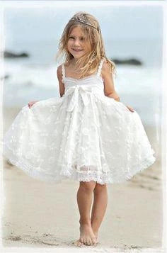 Cute Spaghetti Straps Sleeveless Ivory With Bowkont Lace Beach Flower Girl Dresses FG1008