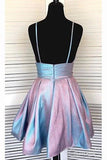 Cute Spaghetti Straps V Neck Short Homecoming Dresses Backless Short Prom Dresses H1303