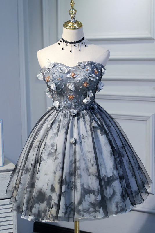 Cute Sweetheart Gray Strapless Beads Lace up Tulle Homecoming Dresses with Flowers H1128