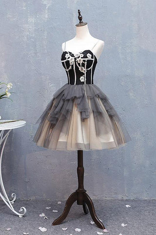 Cute Sweetheart Spaghetti Straps Tulle Short Prom Dresses, Black Homecoming Dresses H1029