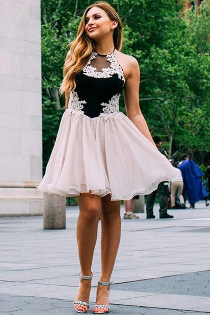 Cute Tulle Lace Short Prom Dresses, Halter Pink and Black Homecoming Dresses H1175