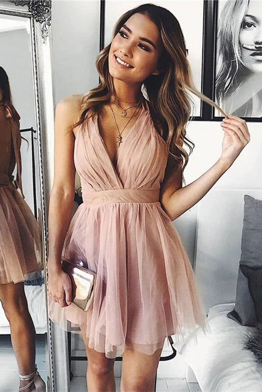 Cute V Neck Above Knee Pink Ruffles Tulle Short Prom Dresses, Homecoming Dresses H1113